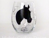 Painted Stemless Glass with Horse Head Silhouette
