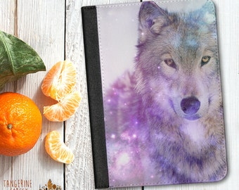 Mystic Wolf Design Leather Case. Choose iPad 2/3/4, iPad Air or iPad Mini.
