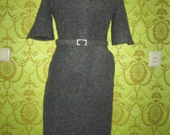 SALE Angelina Jolie vintage designer inspired brushed virgin wool structured dress US 4