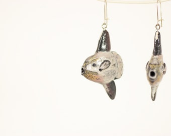 Ocean Sunfish Earrings - Mola Mola - Silver French Ear Wires - Two Color Options, Made to Order