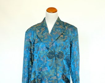 Vintage Asian Robe, Japanese Style Housecoat, Women's Bathrobe, Women's Size Large