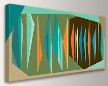 "Mid Century Wall Art - Canvas Print - Teal Orange Olive Green and Brown Decor - Retro Modern Design  - "" Multiplex Panorama """