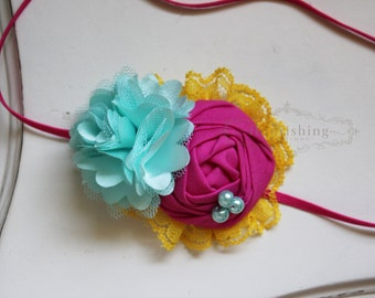 Yellow, Pink and Aqua headband, pink headbands, rosette headbands,newborn headbands, summer headbands,photography prop