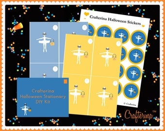 Halloween Stationary PDF Kit by Crafterina - DIY Craft - Trick or Treat - Printable
