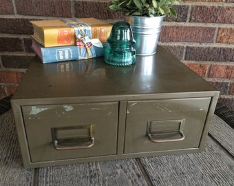 Vintage Army Green Metal Card Catolog Box and Double Drawer