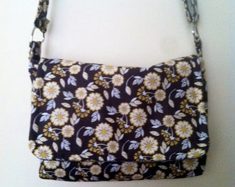Floral Messenger Bag with Adjustable Strap