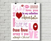 SALE 50% OFF - Printable Valentine Digital Subway Art Typography Decoration 11x14 and 8x10 Instant Download