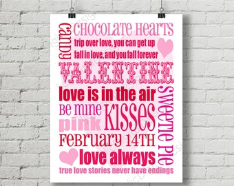 SALE 50% OFF Printable Valentine Digital Subway Art Typography Decoration 11x14 and 8x10 Instant Download