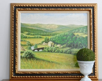 Large Vintage Original Oil Painting on Canvas Signed Landscape Pastoral French Country Provence Green Hills Countryside