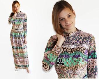 60s Mod Maxi Dress Psychedelic Boho Hippie Festival Montgomery Ward
