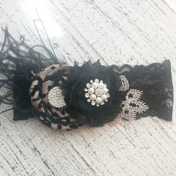 Black Lace Headband, Photography Prop, Cheetah Headband, Feather headband, Boutique Headband, Newborn Headband, Chloe Reese, baby bows