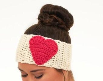 Hot Pink and Buttercream Knit Heart Headband / Extra Wide Crocheted Ear Warmer, Handmade, Crocheted Women's Accessory