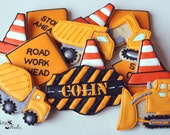Construction Truck Decorated Cookies, Decorated Cookie Favors, Birthday Cookies, Road Signs, Boys Birthday Cookies,