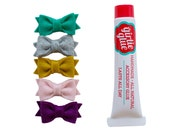 Ultimate Baby Shower Gift - teeny tiny Newborn bows set with all natural glue - YOU CHOOSE COLORS