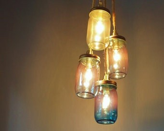Mason Jar Chandelier, Rustic Design Hanging Light, Copper Hardware and Aqua Tinted Glass, Four Lights