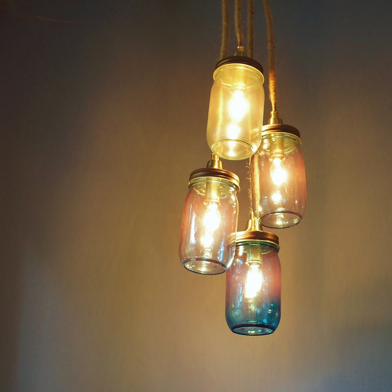 mason jar chandelier rustic design hanging light copper
