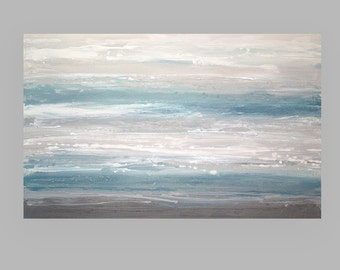 Art & Collectibles, Abstract Painting,Original Acrylic, Painting,Seascape Painting, Canvas by Ora Birenbaum, Wind Swept Shores 2 30x48x1.5""