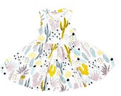 Cactus Twirling Dress in Dusty Pink, Yellow Ochre, Blue Mint and Black on White