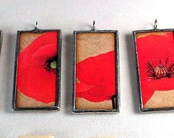 Glass Floral Necklaces in Poppy Red