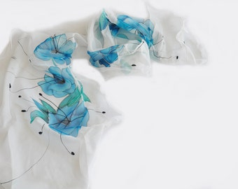 Hand painted silk scarf Shawl Blue flowers White scarf Woman silk scarf Luxury silk scarf Painted Silk scarf Woman scarf Floral silk scarf
