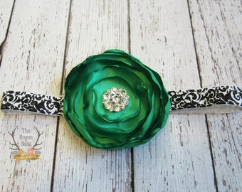Black & White Damask Headband with Emerald Green Satin Flower with Rhinestones -  Baby Infant Toddlers Girls Women