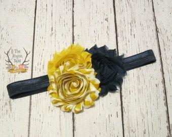 Baby Headband - Navy Blue with Mustard Yellow Headband -Toddler Headband - Photo Prop Flower Girl Fall
