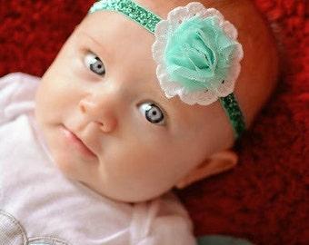 Aqua Glitter Elastic Headband -  White Eyelet Lace - Baby - Newborn Infant Toddler Girls Photo Prop