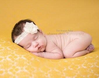 Cream Lace Headband- Newborn - Baby Headband - Photo Prop - Petite Headband - Preemie - Rhinestone Pearl - Vintage Style Lace - Ivory - Lace