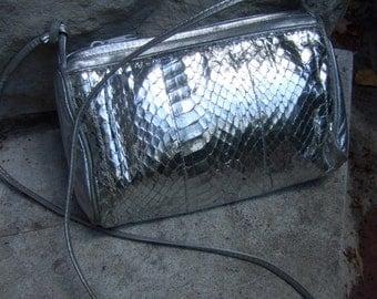 Silver Snakeskin Stylish Shoulder Bag c 1980s