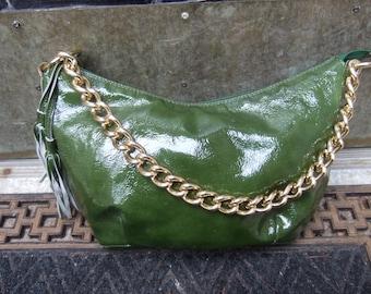 Italian Olive Green Patent Leather Gilt Chain Handbag