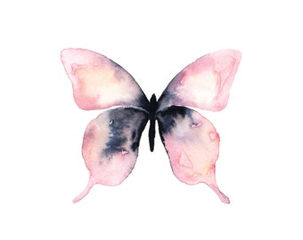 Pink Watercolor Butterfly Print.  Butterfly Illustration.  Wall Art.