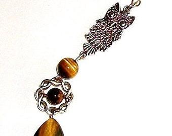 Dreadlock Jewelry - Tiger Eye and Antique Silver Owl Loc Jewel