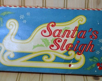 Vintage Folding Wooden Santa's Sleigh Christmas Decor Red with Metal Fasteners Collapsible Made in Taiwan