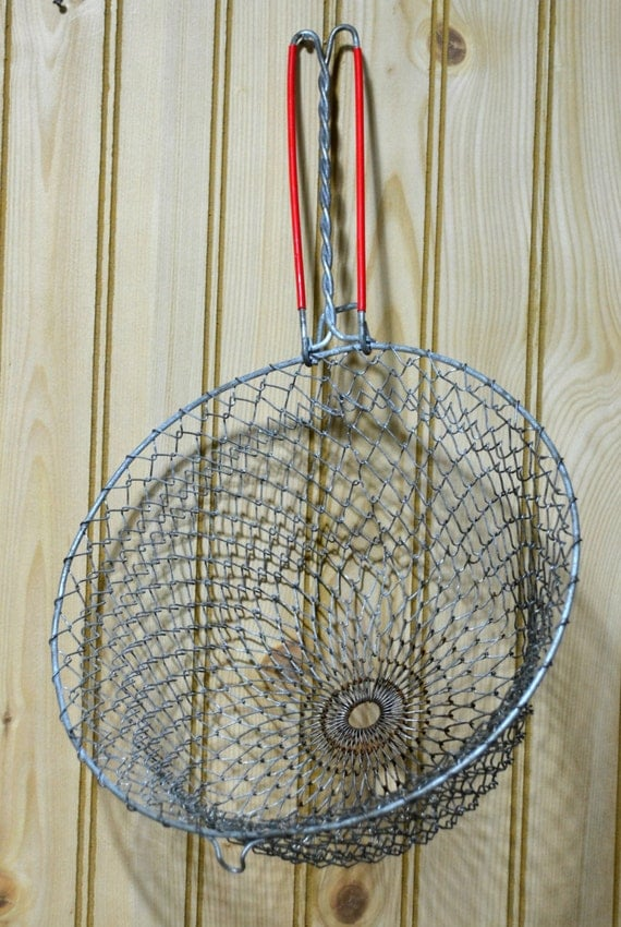 vintage wire basket strainer fryer collapsible pot hook. Black Bedroom Furniture Sets. Home Design Ideas