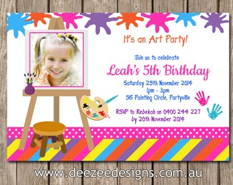 Photo Personalised Art and Craft Birthday Invitations - You Print