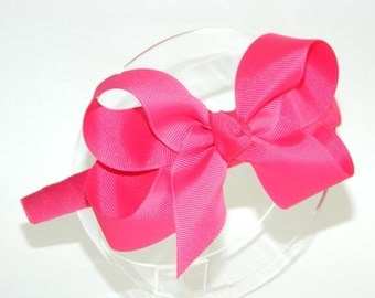 Shocking Pink Bow Headband