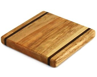 """Maple Wood Cheese Board with Walnut Accents - Ready to Ship - 7-1/4"""" x 7-1/4"""" x 1"""""""