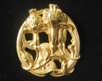 """SALE MIRIAM HASKELL Repousse Vintage Brooch has a Floral Design Done in an Art Nouveau Style.  Deeply Contoured.  2-1/16"""" H x 1-3/4"""" W."""