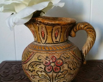 Small Japanese Mid Century Folk Water Pitcher - Antique Japanese Ceramic Vase - 1950s Asian Ceramic Folk Art - Stucco Clay - Etched Flowers