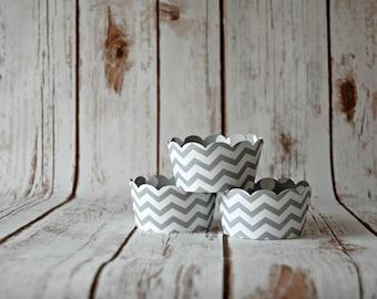 Grey Chevron Cupcake Wrappers, Reversible Cake Wraps,  Gray Polka Dot Cupcake Decoration (set of 6)