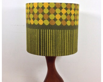 RESERVED- Lampshade Vintage 70s Heals Fabric Abacus Peter Hall 25cm x 25cm Green
