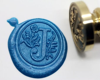 "S1152 Alphabet Letter "" J "" Wax Seal Stamp , Sealing wax stamp, wax stamp, sealing stamp Flower Sytle"