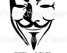 V For Vendetta Mask Stencil Popular items f...