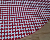 SALE Checkerboard Red and White Christmas Tree Skirt - Deep Red and Crisp White Diamond Harlequin Pattern, Free Shipping, Made in USA