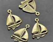 30 pcs 17x22MM Antique Bronze Sail Boat  Charms Pendant,pendant beads, Sail Boat Shape pendants jewelry findings