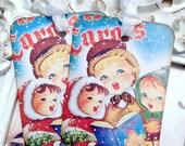 Caroling Kids Christmas Tags (6) Gift Tags-Christmas Favor Tag-Treat Tag-Tags for Kids-Holiday Tags-Vintage Style Tag-Shabby Christmas Tag