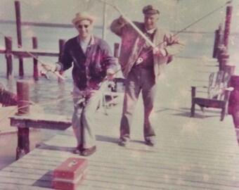 Original Vintage Color Photograph The Fishermen
