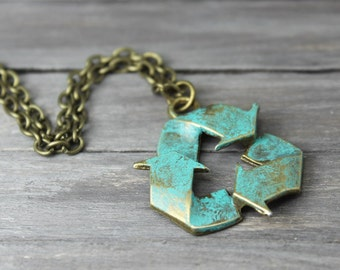 Recycle Necklace, Earth Day, Trendy Necklace, Hipster Necklace, Teal Recycle Necklace, Recycle Charm Necklace, Bronze Recycle Necklace