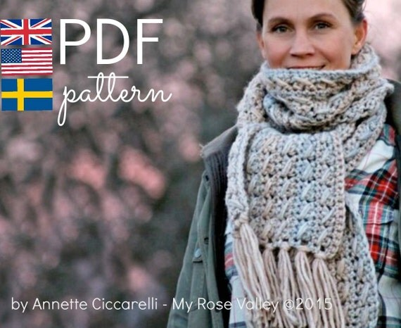 Crochet Scarf Pattern - Wilma's Cable Scarf - US, UK and Swedish terms - PDF file