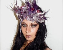 Burning Man Headpiece- Festival, Mardi Gras, Carnival, Victorian, Art Deco, Great Gatsby, Flapper, Steampunk, 1920s Gothic, Vintage, Feather